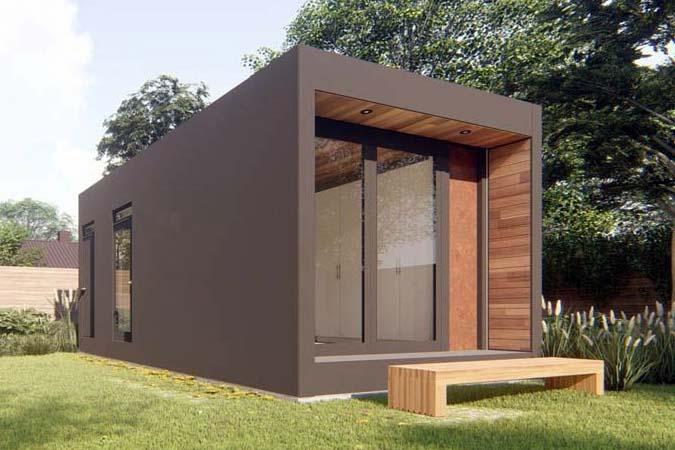 Casa con contenedores marrón