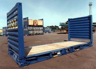 Contenedor Flat Rack 20 pies azul