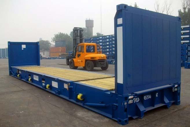 Contenedor flat rack 40 pies azul