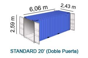standard 20' doble puerta